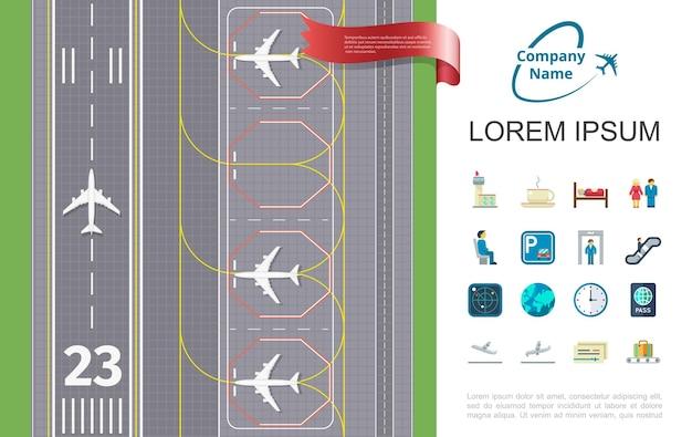 Плоское воздушное путешествие с взлетно-посадочной полосой аэропорта и тематической иллюстрацией значков Бесплатные векторы