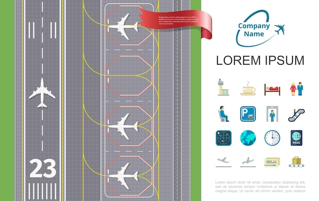 Flat air travel  with runway airport and thematic icons illustration Free Vector