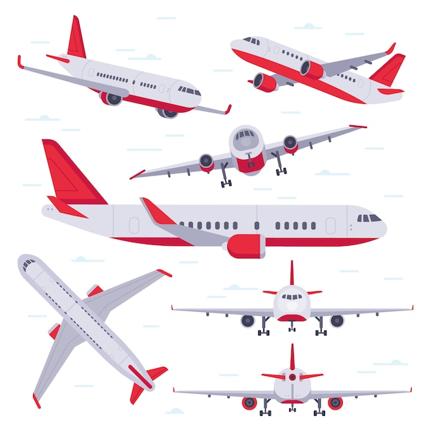 Flat airplane. aircraft flight travel, aviation wings and landing airplanes isolated Premium Vector