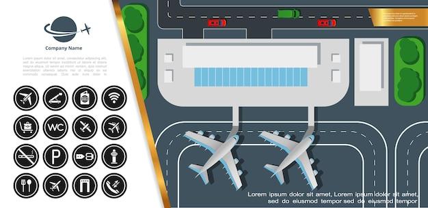 Плоский аэропорт красочный вид сверху с самолетами здания терминала на взлетно-посадочной полосе и иллюстрации значков аэропорта Бесплатные векторы