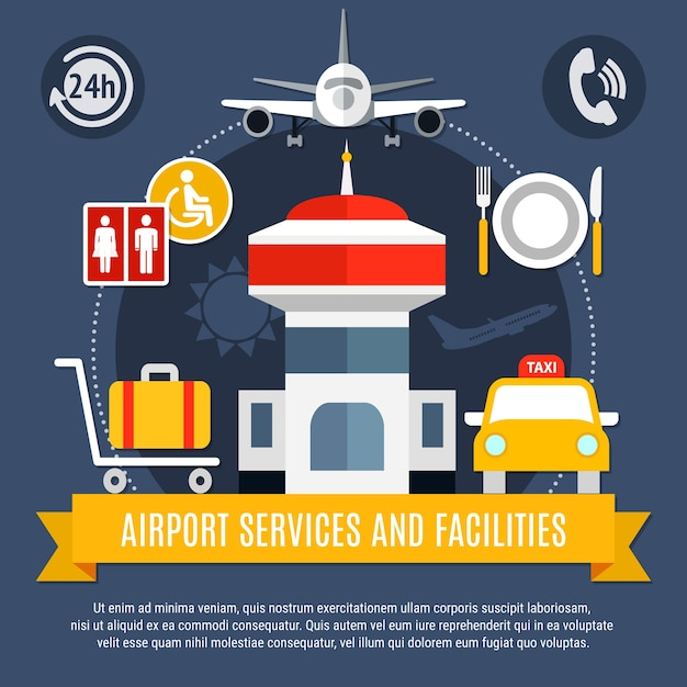 Flat airport services and facilities background Free Vector