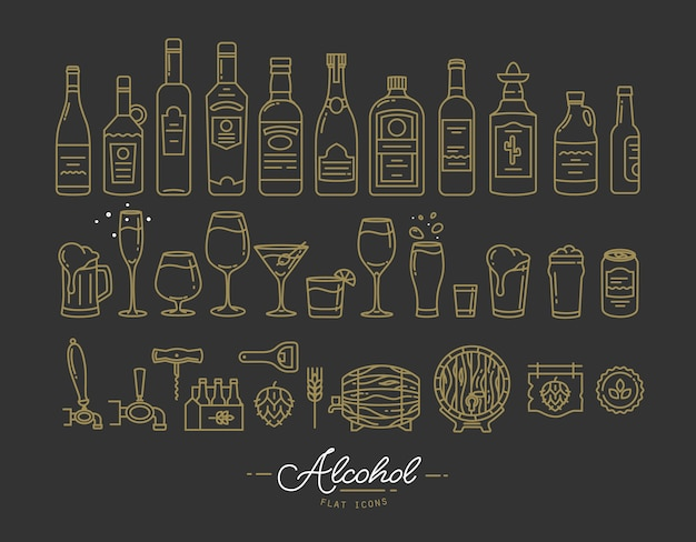 Flat alcohol icons gold Premium Vector