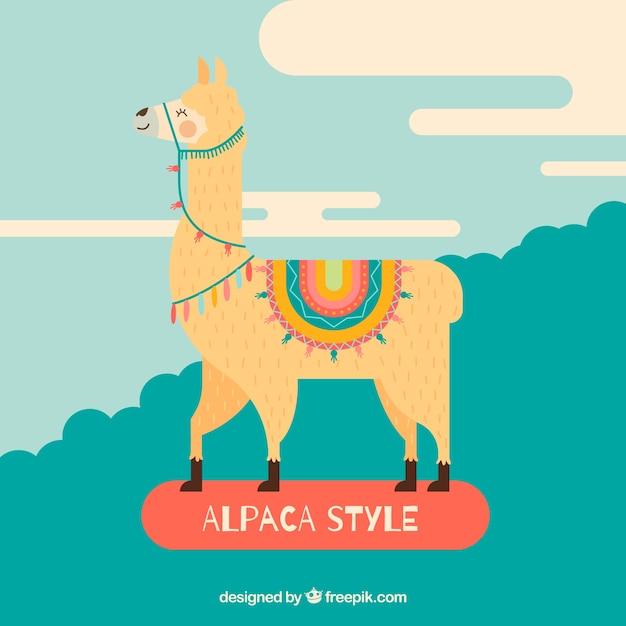 Flat alpaca background Free Vector
