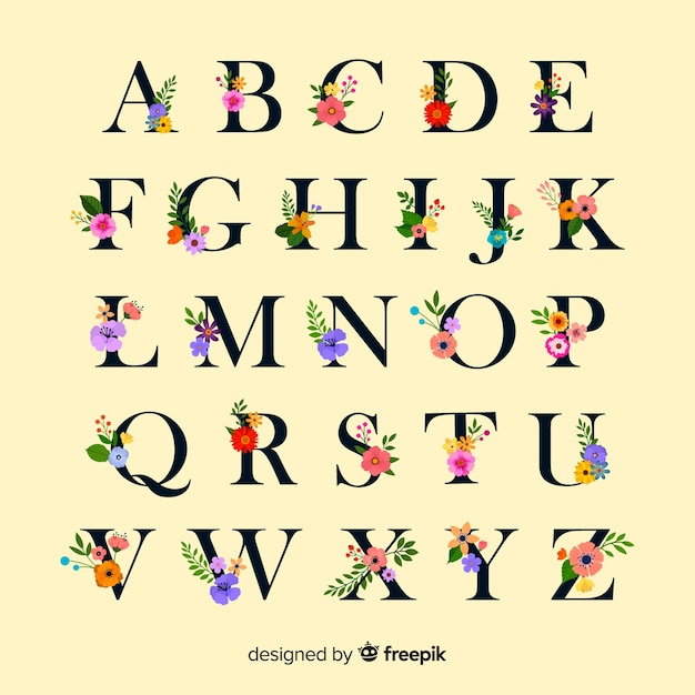 Flat alphabet with flowers Free Vector