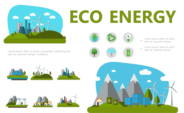 Flat alternative energy composition with planet recycle sign bulb tree solar panels battery windmills eco factory and houses Free Vector