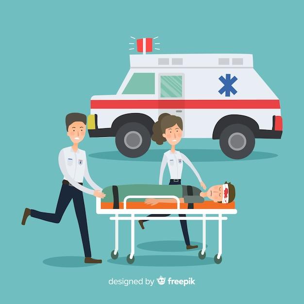 Flat ambulance team Free Vector