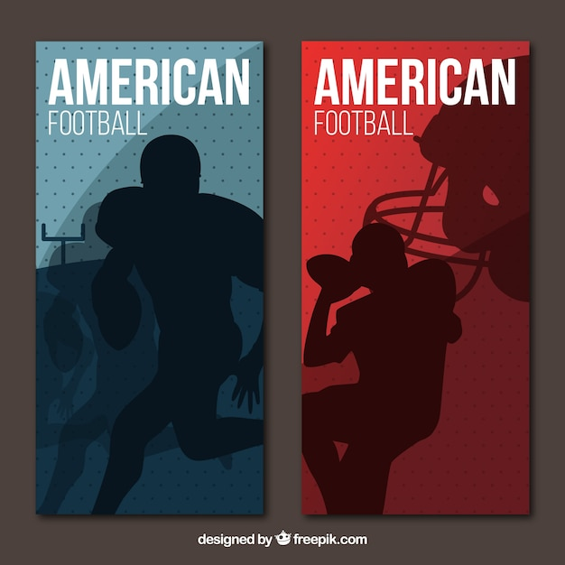 Flat american football banners with players\ silhouettes