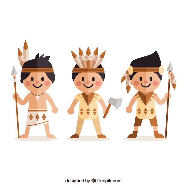 Flat american indians in cartoon style Free Vector