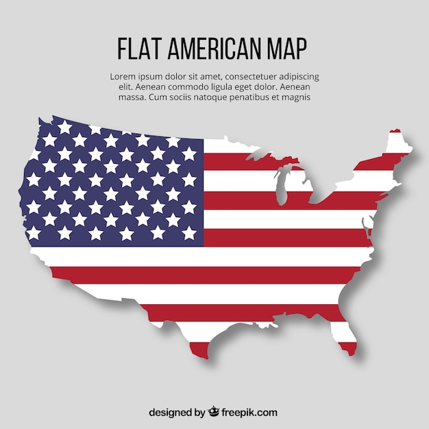 flat american map with flag design