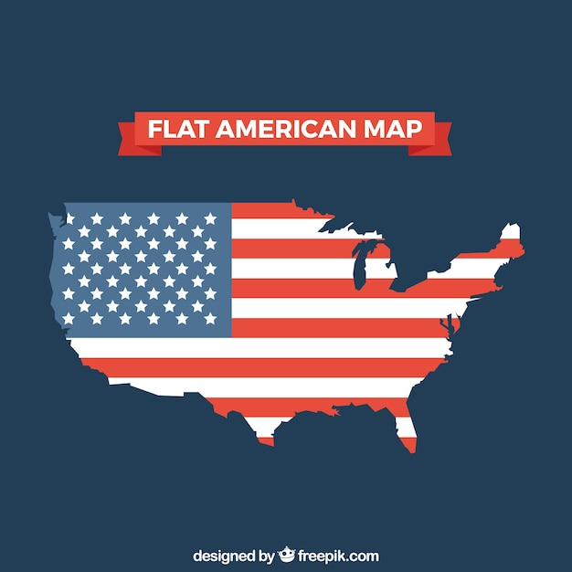 Flat american map with flag design Vector | Free Download
