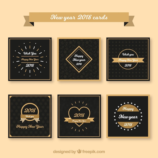 flat and minimalist new year 2018 cards free vector