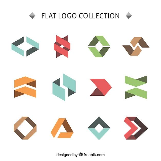 Flat angular logo collection Free Vector
