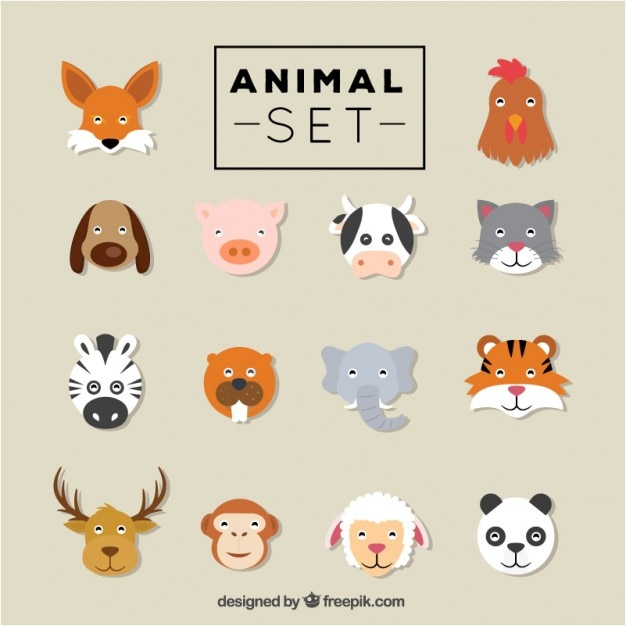 Flat animal heads set Free Vector