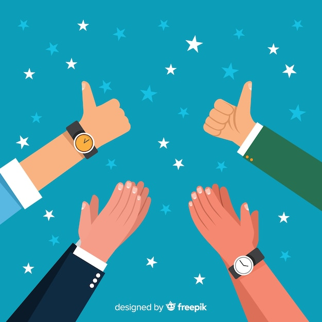 Flat applause background with stars Free Vector