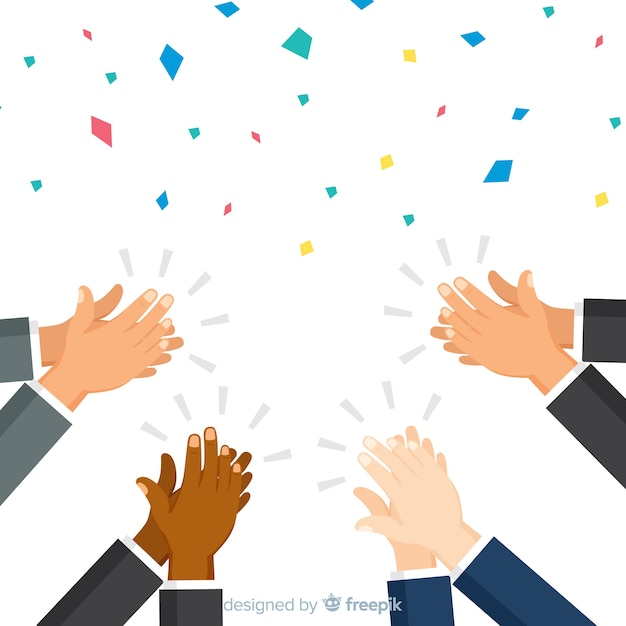 Flat applause with confetti background Free Vector