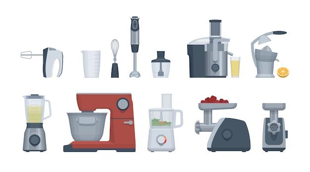 Набор плоской техники. кухонный комбайн, блендер, миксер и др. Premium векторы