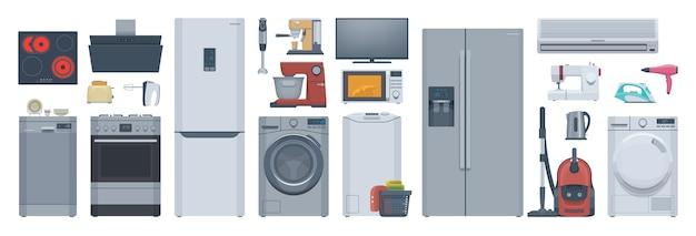 Набор плоской техники. холодильник, стиральная машина, плита и прочее. иллюстрация. коллекция Premium векторы