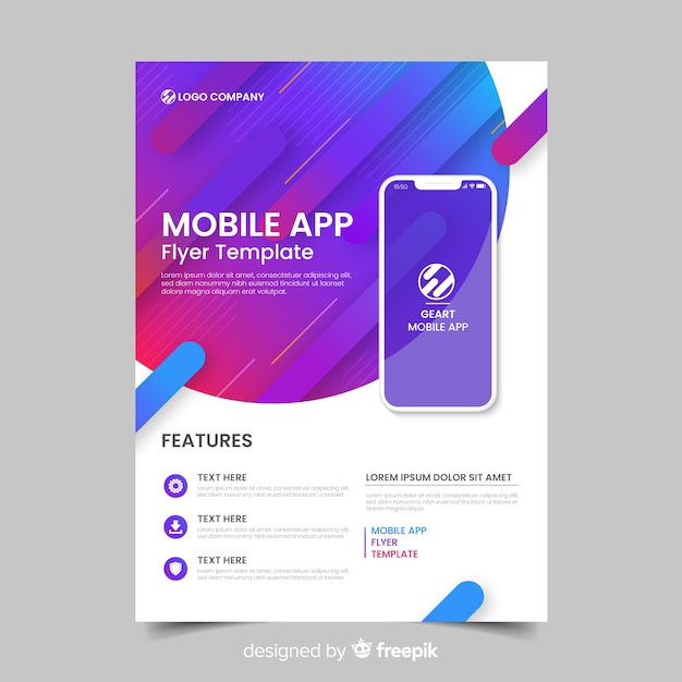 Flat application brochure template Free Vector