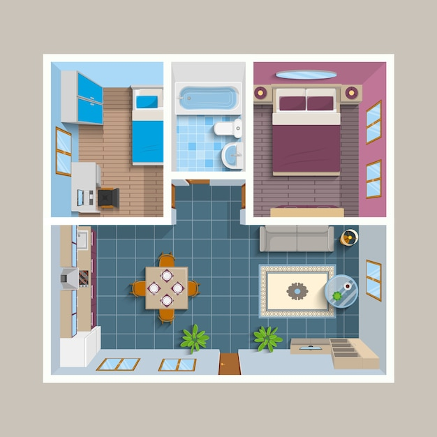 Flat architectural plan top view position Free Vector