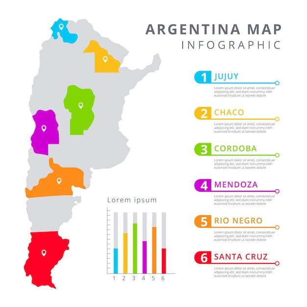 Piatto mappa argentina infografica Vettore gratuito