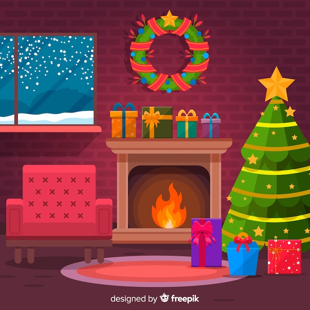 Christmas Fireplace Scene Clipart.Flat Armchair Christmas Fireplace Scene Vector Free Download