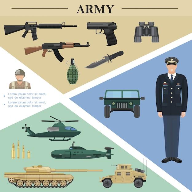 役員兵士軍用車両機関銃手榴弾ナイフ双眼鏡ピストル弾丸とフラット軍要素テンプレート 無料ベクター