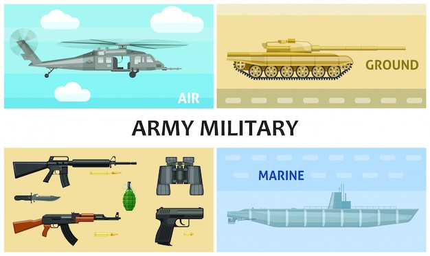 Flat army and military composition with automatic machines pistol grenade bullets knife binoculars submarine tank helicopter Free Vector