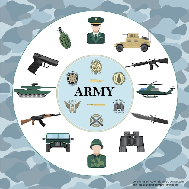 Flat army round composition with officer soldier armored car tank helicopter weapon binoculars grenade military badges on camouflage Free Vector