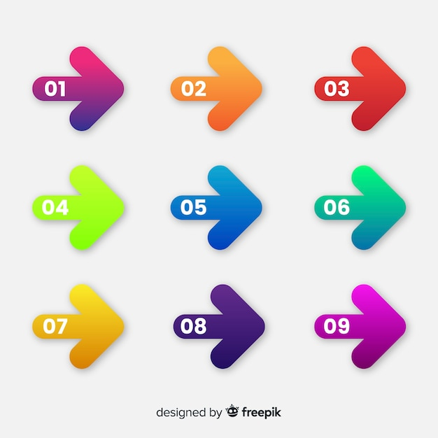 Flat arrow bullet point collection Free Vector