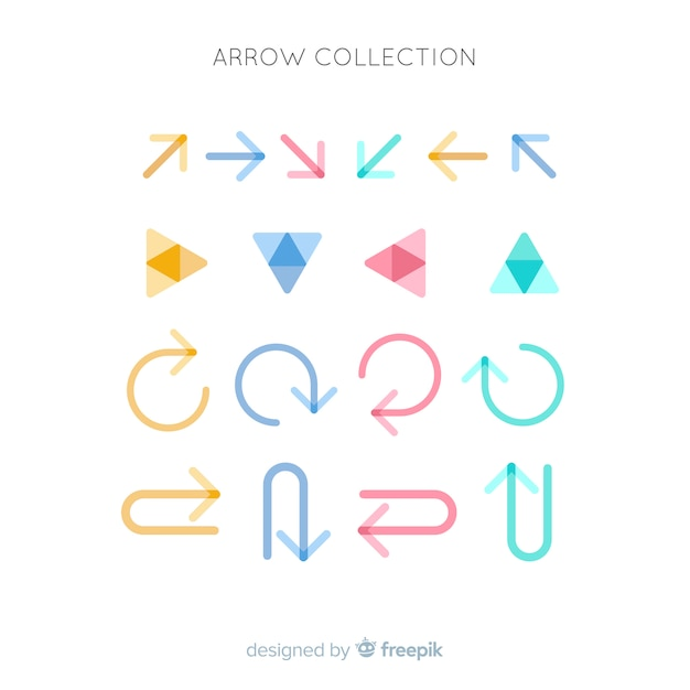 Flat arrow collection Free Vector