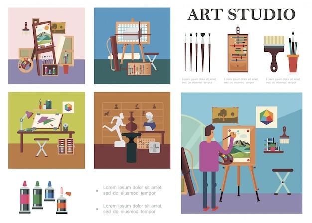 La composizione piana negli elementi dello studio di arte con l'uomo che disegna il posto di lavoro dell'artista dell'immagine scolpisce gli strumenti e le attrezzature della pittura professionale differente Vettore gratuito