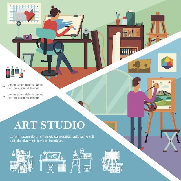 Плоский арт-шаблон студии с работающими художниками и графическими дизайнерами, профессиональными рабочими местами и оборудованием Бесплатные векторы