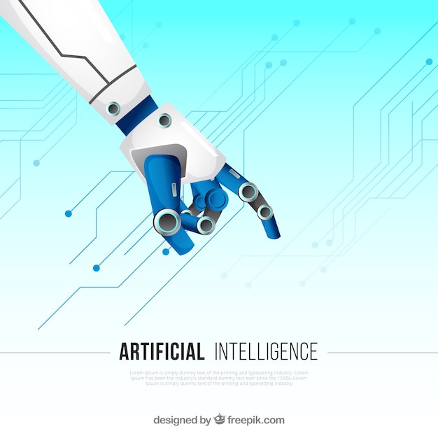 Flat artificial intelligence background Free Vector