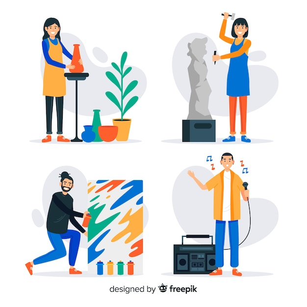 Flat artists at work collection Free Vector