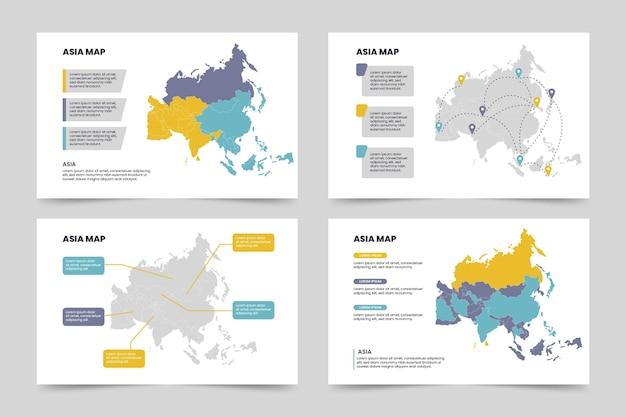 Piatto asia mappa infografica Vettore gratuito