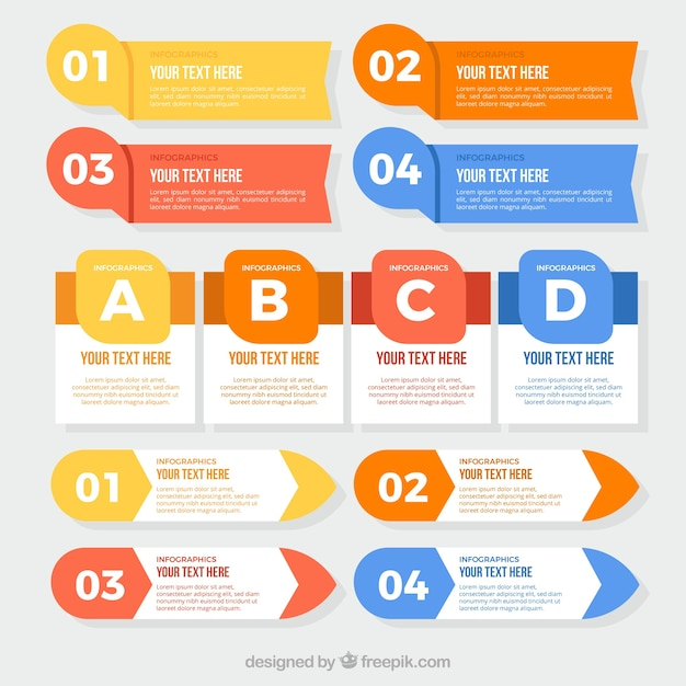 Flat assortment of great infographic items Free Vector