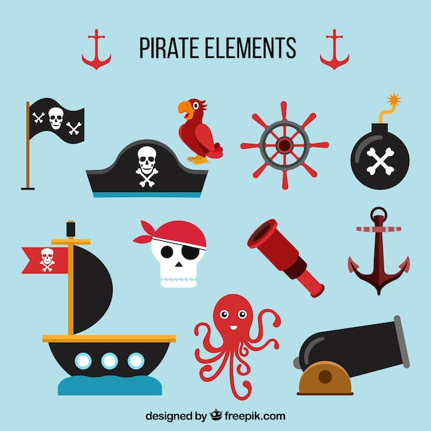 Flat assortment of pirate elements Free Vector