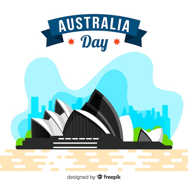 Flat australia day background Free Vector