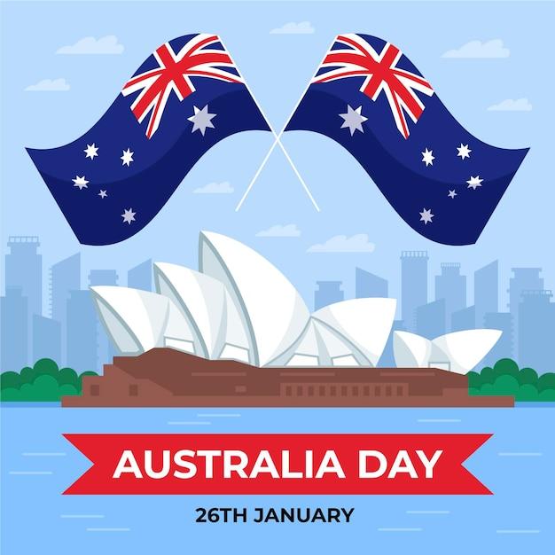 Illustrazione di giorno piatto australia con bandiere Vettore gratuito