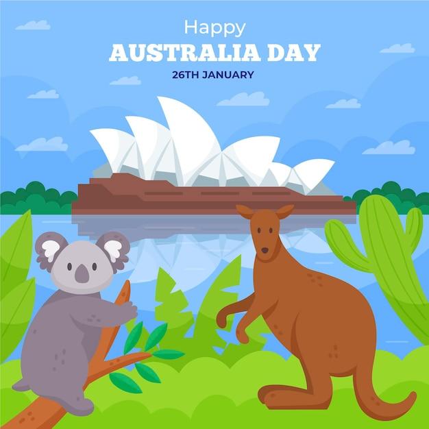 Illustrazione piana di giorno dell'australia con l'orso di koala Vettore gratuito