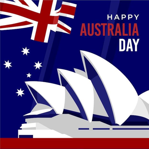 Плоский день австралии Premium векторы