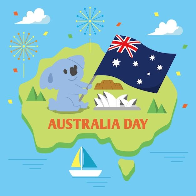 Illustrazione piana di giorno dell'australia Vettore gratuito