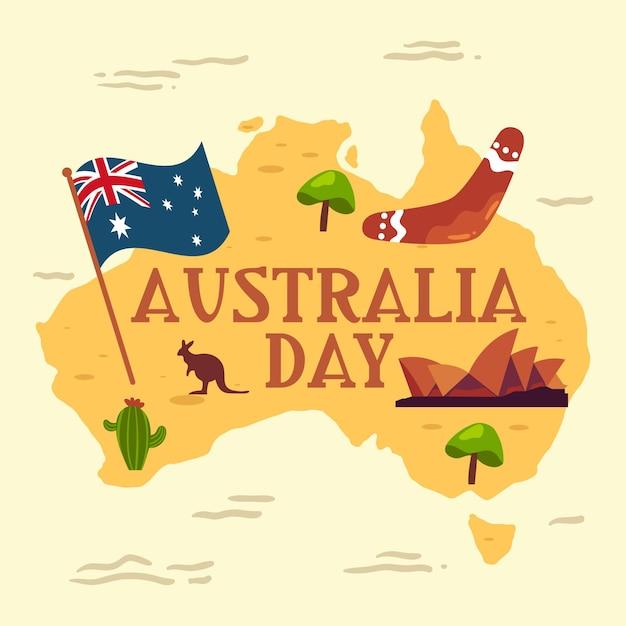 Плоская иллюстрация карты дня австралии Бесплатные векторы