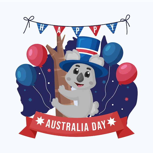 Flat australia day with adorable koala bear Premium Vector