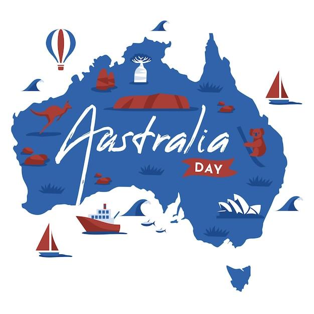 Giorno piatto australia con mappa australiana Vettore gratuito
