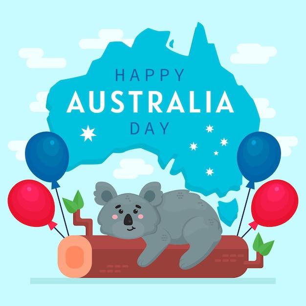 Flat australia day with cute koala bear Free Vector