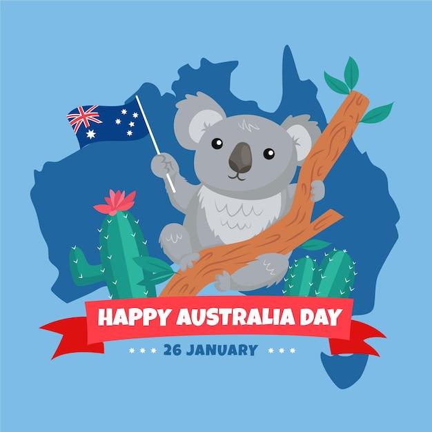 Flat australia day with koala bear Free Vector