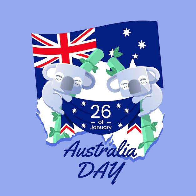 Flat australia day with koala bears Free Vector