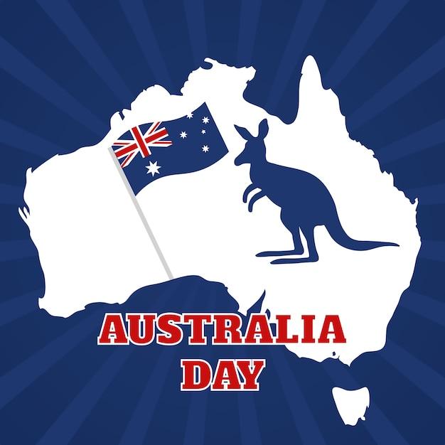 Giorno piatto dell'australia Vettore gratuito