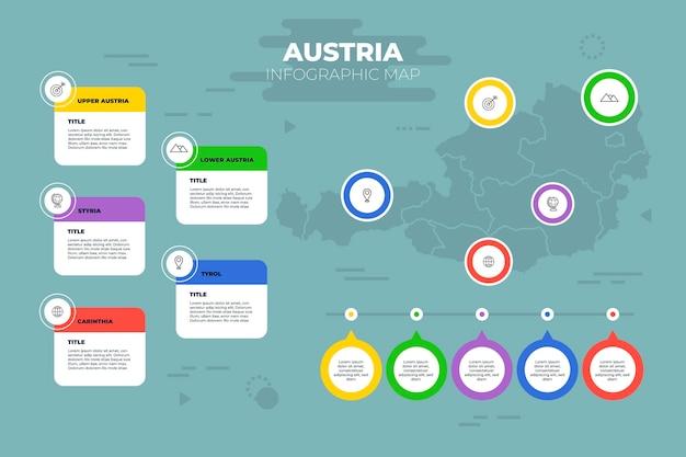Плоская австрия карта инфографики шаблон Premium векторы